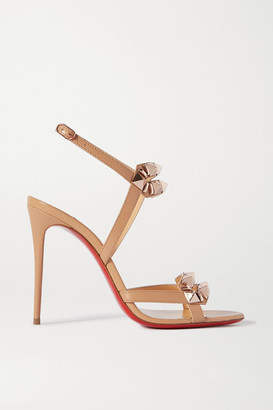 Christian Louboutin Galerietta 100 Studded Leather Slingback Sandals - Neutral
