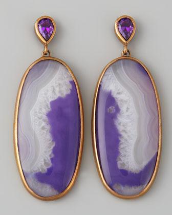 Stephen Dweck Purple Agate Oval Drop Earrings