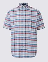 Marks and Spencer Pure Cotton Checked Shirt with Pocket