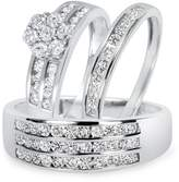2heart 1 1/2 CT. T.W. Diamond Engagement Ring Wedding Trio Set In Solid 14K Gold Over