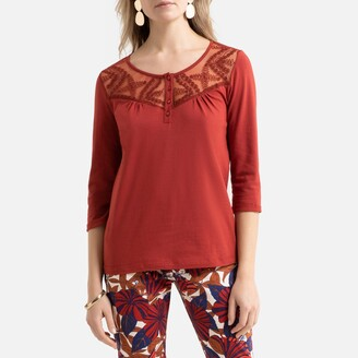 Anne Weyburn Laced Cotton T-Shirt with Long Sleeves