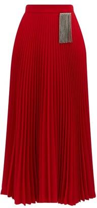Christopher Kane Crystal-embellished Pleated Crepe Skirt - Red