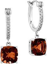 FINE JEWELRY 1/10 CT. T.W. Diamond and Genuine Garnet 14K White Gold Dangle Hoop Earrings