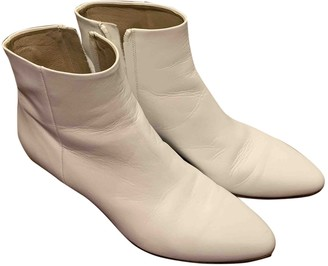 Vince White Leather Ankle boots