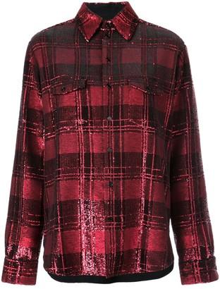 Saint Laurent sequinned plaid shirt