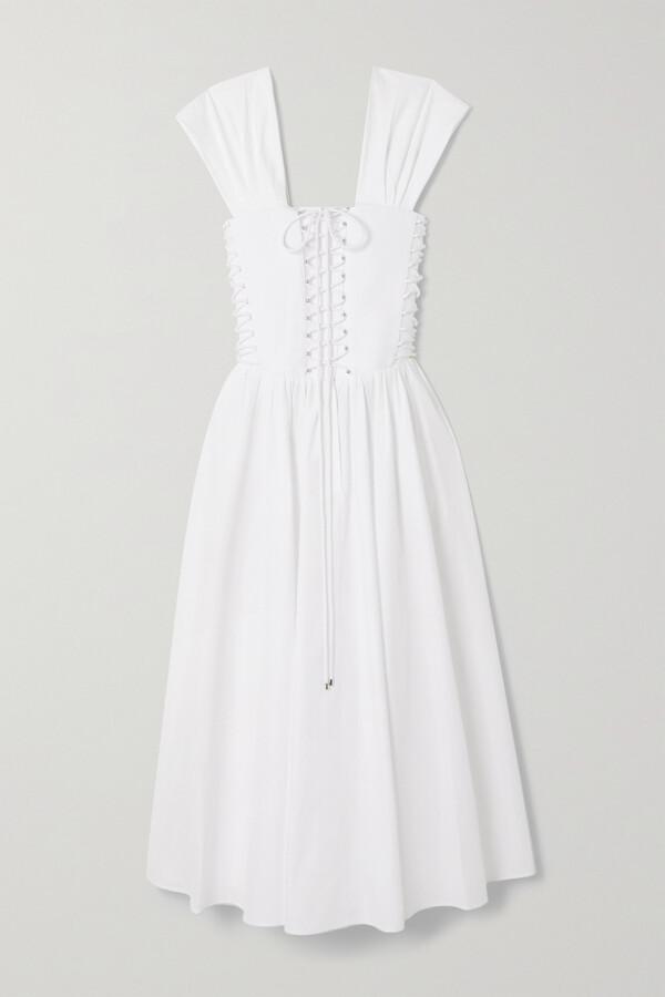 Thumbnail for your product : Philosophy di Lorenzo Serafini Lace-up Cotton-poplin Midi Dress - White
