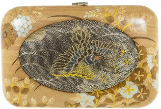 Silvia Furmanovich Vintage Japanese Fabric Wood Clutch