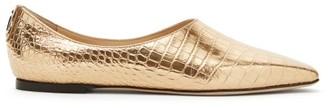 Jimmy Choo Joselyn Metallic Croc-effect Leather Ballet Flats - Womens - Gold