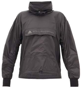 adidas by Stella McCartney Open Knit-back Shell Hooded Jacket - Womens - Black