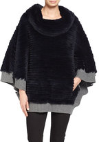 Pologeorgis Ribbed Rabbit Fur Poncho, Navy
