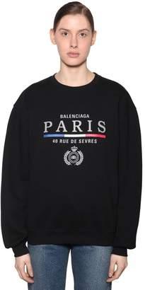 Balenciaga Embroidered Flag Logo Jersey Sweatshirt