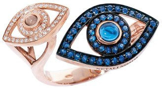 Netali Nissim Rose Gold and Sapphire Protected Eye Ring