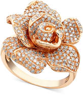 Effy Pave Rose by Diamond Ring in 14k Rose Gold (1-1/8 ct. t.w.)