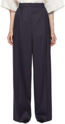 Nina Ricci Navy Wool Striped Oversized Trousers