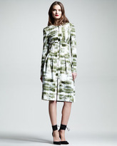 Wes Gordon Croc-Print Silk Trenchcoat