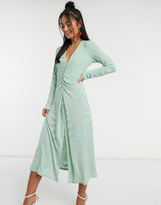 John Zack textured ruched midi dress in mint zebra print