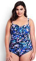Lands' End Women's Plus Size Slender Underwire Bandeau One Piece Swimsuit-Black Artistic Meadow Floral
