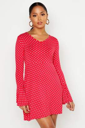 boohoo Polka Dot Tie Back Jersey Skater Dress