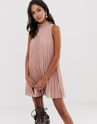 Asos Design DESIGN high neck pleated broderie mini swing dress-Pink