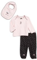 Little Me Infant Girl's Ballet Bear Tee, Pants & Bib Set