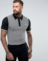 Fred Perry Houndstooth Knitted Polo Shirt in Black