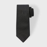 Paul Smith Men's Black Pin Dot Checkerboard Narrow Silk Tie