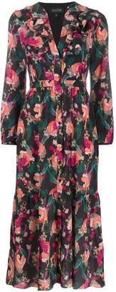 Saloni Tiger Printed Silk Dress