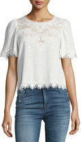 Rebecca Taylor Amora Short-Sleeve Embroidered Top