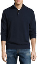Neiman Marcus Cashmere Button-Neck Sweater, Midnight