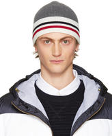Moncler Gamme Bleu Grey Striped Beanie