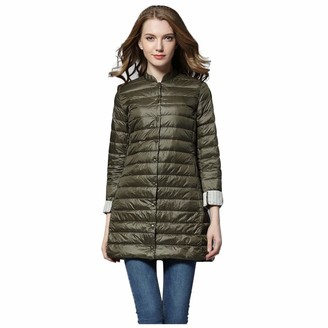 Lazzboy Women Down Coat Jacket Solid Quilted Casual Slim Light Weight Puffy Warm Thermal Long Cardigan Parka Outwear (XL(14)