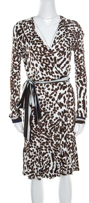 Roberto Cavalli Class by White Leopard Printed Knit Long Sleeve Wrap Dress M