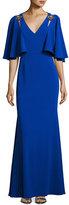 Badgley Mischka Cape-Sleeve Embellished Stretch Crepe Gown, Blue