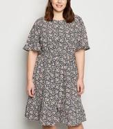 New Look Curves Floral Frill Trim Dress