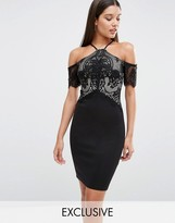 Lipsy Cold Shoulder Lace Mesh Bodycon Dress