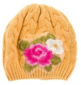 MonnaLisa Girls' Floral Cable Knit Beanie