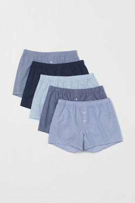 H&M 5-pack Woven Boxer Shorts - Blue
