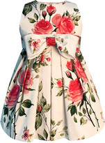 Helena Girl's Baby Love Floral Print Bow Dress, Size 7-12