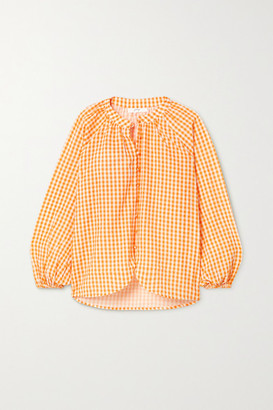 Peony Swimwear Net Sustain Gingham Organic Cotton And Ecovero-blend Blouse - Orange