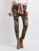 Charlotte Russe Camo Destroyed Skinny Jeans
