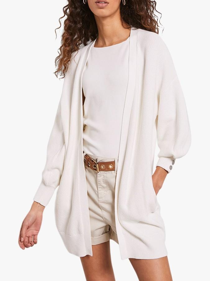 Mint Velvet Cotton Open Cardigan, Ivory