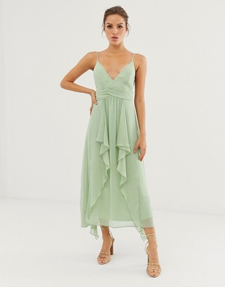 Asos Design DESIGN cami midi dress with soft layered skirt and ruched bodice-Green