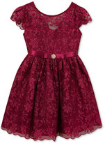 Rare Editions Floral-Embellished Mesh Dress, Little Girls (4-6X)