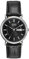 Citizen Bm8240-03e Classic Day Date Leather Strap Watch, Black