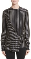 Yigal Azrouel Women's Fringe Trim Stripe Silk Wrap Blouse