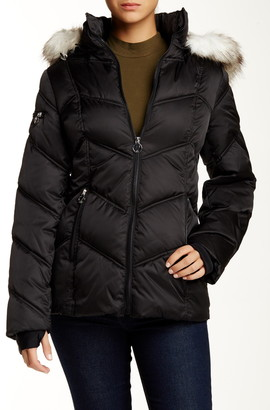 Nautica Faux Fur Trim Hooded Quilted Jacket