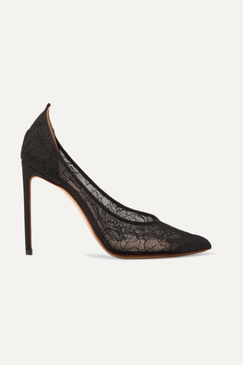 Francesco Russo Corded Lace Pumps - Black