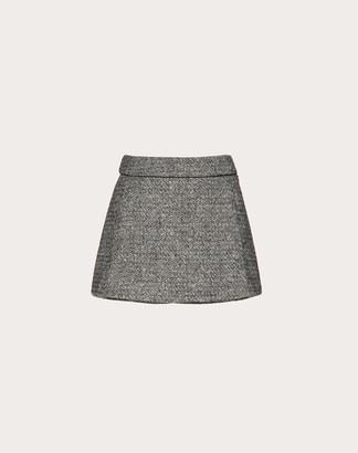 Valentino Pure Tweed Culottes Women Black/ivory Wool 100% 38
