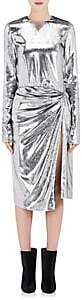 Saint Laurent Women's Lamé-Finished-Velour Wrap Dress - Silver