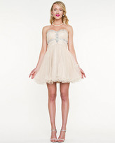 Le Château Sparkle Mesh Sweetheart Party Dress